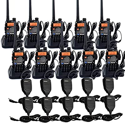 Retevis RT-5RV Two Way Radio VHF/UHF Radio 128CH Dual Band 2 Way Radios VOX FM Long Range Walkie Talkies with Speaker Mic and Earpiece (10 Pack) from Retevis