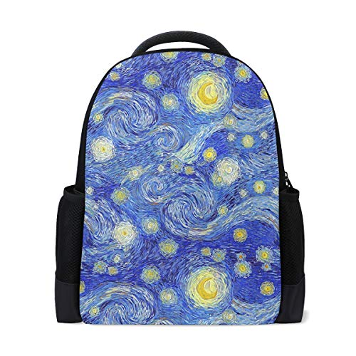 Van Gogh Starry Travel Laptop Rucksack Schule Buch Tasche Galaxy Sky Yellow Moon Casual Daypack Outdoor Business Wandern Rucksäcke Camping Schultertaschen für Studenten Damen Herren