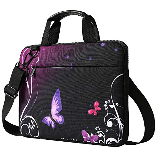 15 15.6 Inch Laptop Shoulder Bag, ToLuLu Protective Notebook Messenger Briefcase Compatible with 14 14.5 15 15.4 15.6 inch Laptop,Canvas Carrying Handbag Sleeve Case Cover w/Pocket, Purple Butterfly