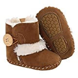 Jonbaem Newborn Baby Boys Girls Snow Winter Boots Infant Toddler Soft Sole Anti-Slip Winter Warm Crib Booties Shoes(6-12 Months, Brown)