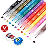 ZEYAR Acrylic Paint Pens, Expert of Rock Painting, Extra Fine Point, 12 Colors, Water Based, Permanent & Waterproof Ink, Works on Rock, Wood, Glass, Metal, Ceramic and Non porous Surfaces (12 Colors)