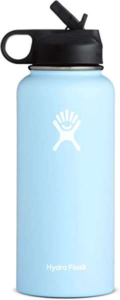 Hydro Flask Wide Mouth Water Bottle Straw Lid Multiple Sizes Colors