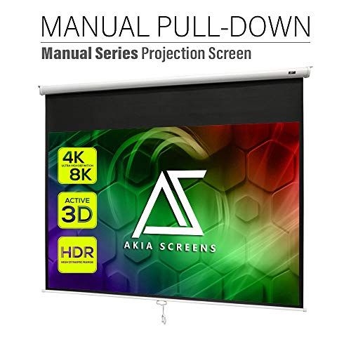 """Akia Screens 100 inch Pull Down Projector Screen Manual B 4:3 or 92"""" 16:9, 95"""" 16:10 8K 4K HD 3D Ceiling Wall Mount White Portable Projection Screen for Indoor Movie Home Theater Office AK-M100V1"""