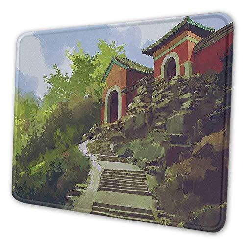 Altes China niedliche Mauspad Aquarellmalerei Landschaft des alten Hauses auf einem Hügel mit Steintreppe Notebook Computer Mauspad Multicolor
