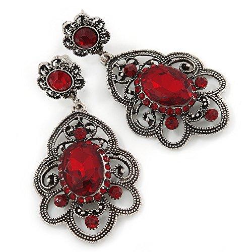 Orecchini pendenti stile vittoriano in filigrana con vetro cristallo rosso rubino in tono argento anticato, lunghezza50mm