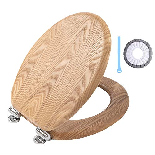Angel Shield High-Quality Antibacterial Wooden Soft Close Toilet Seat with Quick Release Adjustable Hinges Toilet Seat Easy Clean and Assembly for Bathroom (Natural Oak)