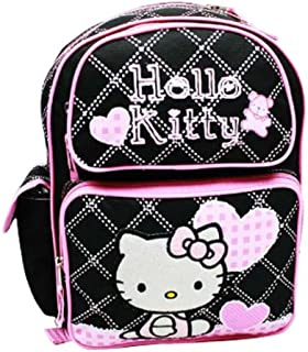 Hello Kitty Sanrio Black with Pink Hearts Large Backpack