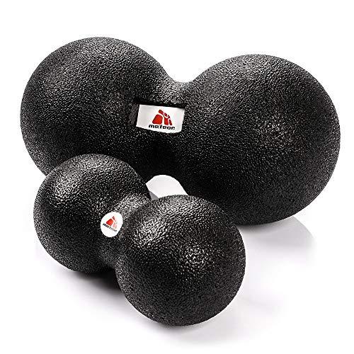 meteor® Black Series DUOBALL - Selbstmassage Faszienball mit doppeltem Effekt auf die Gesundheit, Elgant Schwarz Massagegeräte, in DREI Größen