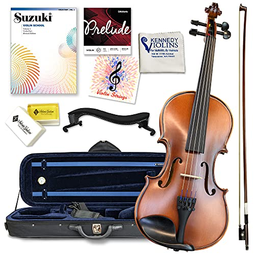 Antonio Giuliani Etude Violin Outfit 4/4 Full Size Clearance By Kennedy Violins - Carrying Case and Accessories Included - Solid Maple Wood and Ebony Fittings AG360