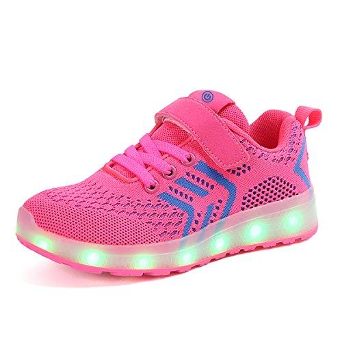 Ansel-UK LED Scarpe Sportive per Bambini Ragazzi e Ragazze 7 Colori USB Carica Lampeggiante Luminosi Running Sneakers Traspirante Basso Ultraleggero Sport Baskets Shoes
