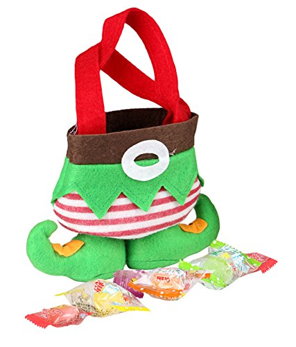 Wowlife@ Holiday Secret Santa Candy Bags Elf Socks Candy Bags Christmas Gift Bags Cutlery Supplies Practical Home for Christmas Elf Foot Gift Bag Xmas Christmas Candy Bag Party Home Decor Santa Elf Spirit Pants Candy Gift Bag Sweet Sack Stocking Filler Christmas Gift Bags (3)