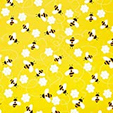 2 Pieces Honeybee Honeycomb Fabric 90 x 90 cm Honeybee Pattern Decoration Fabric Cartoon Lovely Square Fabric for DIY Crafts Upholstery Supplies Home Decorations