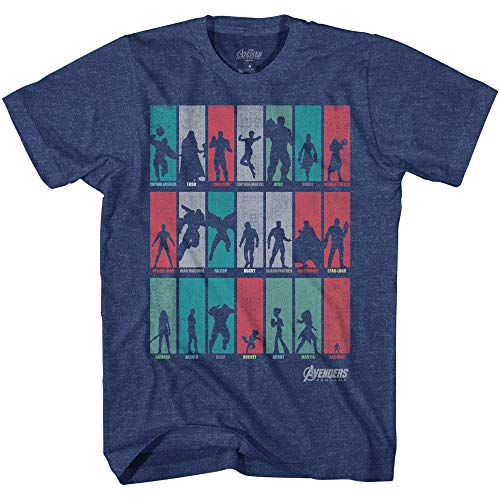 Marvel Avengers Infinity War Endgame Heroes Ensemble Mens T-Shirt(Heather Navy,X-Large)