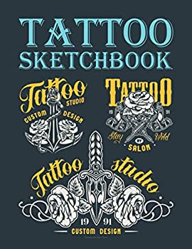 Tattoo Sketchbook  For professional tattooists and students to draw sketch and record creative ideas  8.5  x 11  120 pages vintage-monochrome-tattoo-salon cover