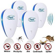 Repelente Ultrasónico Mosquitos 2019 Control de Plagas para Las Moscas, Cucarachas, Arañas, Hormigas, Ratas y Ratones, Insectos Antimosquitos Eléctrico Extra Fuerte para Interiores (4-Pack)