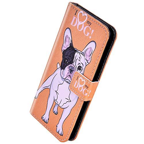Herbests Kompatibel mit Samsung Galaxy S10 Handyhülle Handytasche Leder Hülle Retro Bunt Muster Schutzhülle Flip Case Leder Tasche Wallet Hülle Kartenfächer Magnet,Haustier Hund