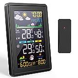 Gafild Estación meteorológica, Termómetro Higrómetro Digital con sensores con Temperatura,Humedad,Pronóstico del Tiempo,Hora Local,Despertador,3 Canales,Monitor de Humedad Temperatura doméstica