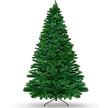 AODOOR 7.5ft Artificial Christmas Tree Unlit with Metal Stand,2106 Premium Hinged Branch Tips Home Offical Party Holiday Decor Ornaments