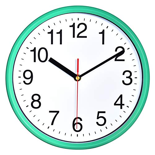 """Plumeet 10"""". Reloj de Cuarzo de Pared silencioso, Decorativo para el hogar/la Cocina/la Oficina/la Escuela, fácil Leer y con Pilas (Cian)"""