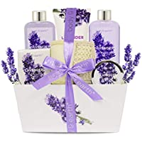 6-Piece Body & Earth Lavender Scented Womens Spa Basket Kit (Contains Shower Gel, Bubble Bath, Body Lotion, Bath Salt, Body Scr