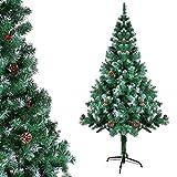 Gotoll Árbol de Navidad Artificial de Pino 180cm,600 Ramas con Soporte Metálico Árbol Navideña de PVC Abeto con Piñas y Bayas de Navidad Decoración Navideña
