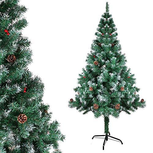 Gotoll Künstlicher Weihnachtsbaum mit Kiefernzapfen und Beere, beschneiden Spitzen Christbaum inkl. Metallständer, Tannenbaum 120cm Hohe, schwer entflammbar
