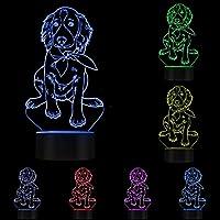 Lámpara visual 3D LED Ilusión óptica Luz nocturna Lámpara de escritorio LED que brilla intensamente creativa, forma de cachorro Setter irlandés