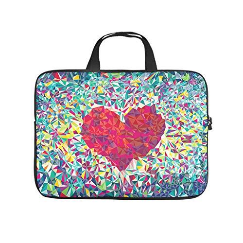 Bolsa para ordenador portátil resistente al polvo, diseño de corazón con piedras de cristal