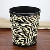 CDXZRZYH Cubo de Basura de la Cocina, Sala de Estar Cubo de Cuero Simple Cubo de Basura del hogar (Color : Zebra Pattern)
