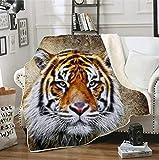 Forest King Tiger - Manta de sherpa estampada en 3D, funda de...