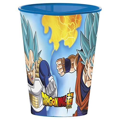DB Dragon Ball Super – Juego de 4 Vasos de Plástico 260 ml Goku Vegeta Super Saiyan Azul