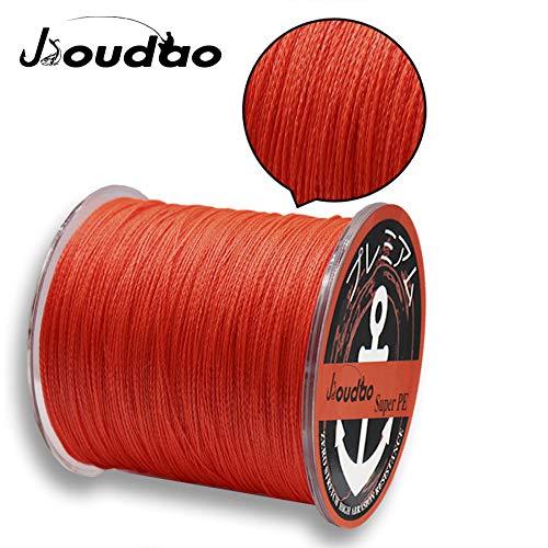 JIOUDAO Angelschnur Hochleistungsstarke Superline 10LB-100LB 300m (328 Yards) 4 und 8 Stränge PE Angelschnüre (orange, 10lbs-0.13mm-4.5kg)