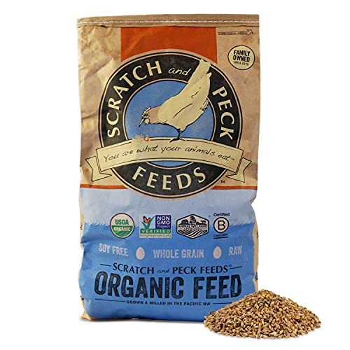 Scratch and Peck Naturally Free Organic Grower Chicken Feed for Chickens and Ducks - 25-lbs - Non-GMO Project Verified, Always Soy Free - 2003-25