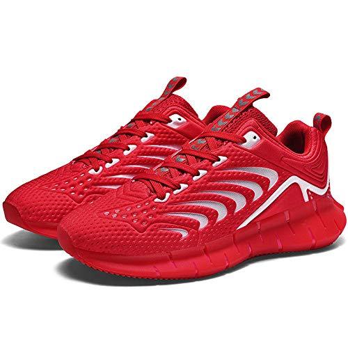 Aerlan Gym Shoes Lightweight Shoes,Botas de montaña Deportivas,Verano Transpirable Luminoso Casual Moda Hombre Zapatillas-Red_43#