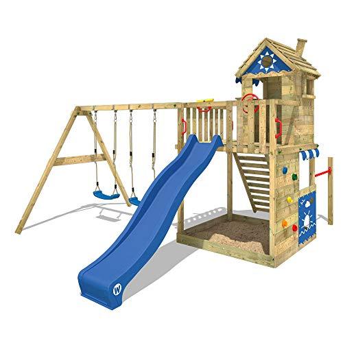 WICKEY Parque infantil de madera Smart Sand con columpio y tobogán azul Torre de escalada de exterior con arenero y escalera para niños