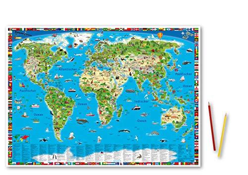 """Erlebniskarte """"Illustrierte Weltkarte"""" Schreibunterlage"""