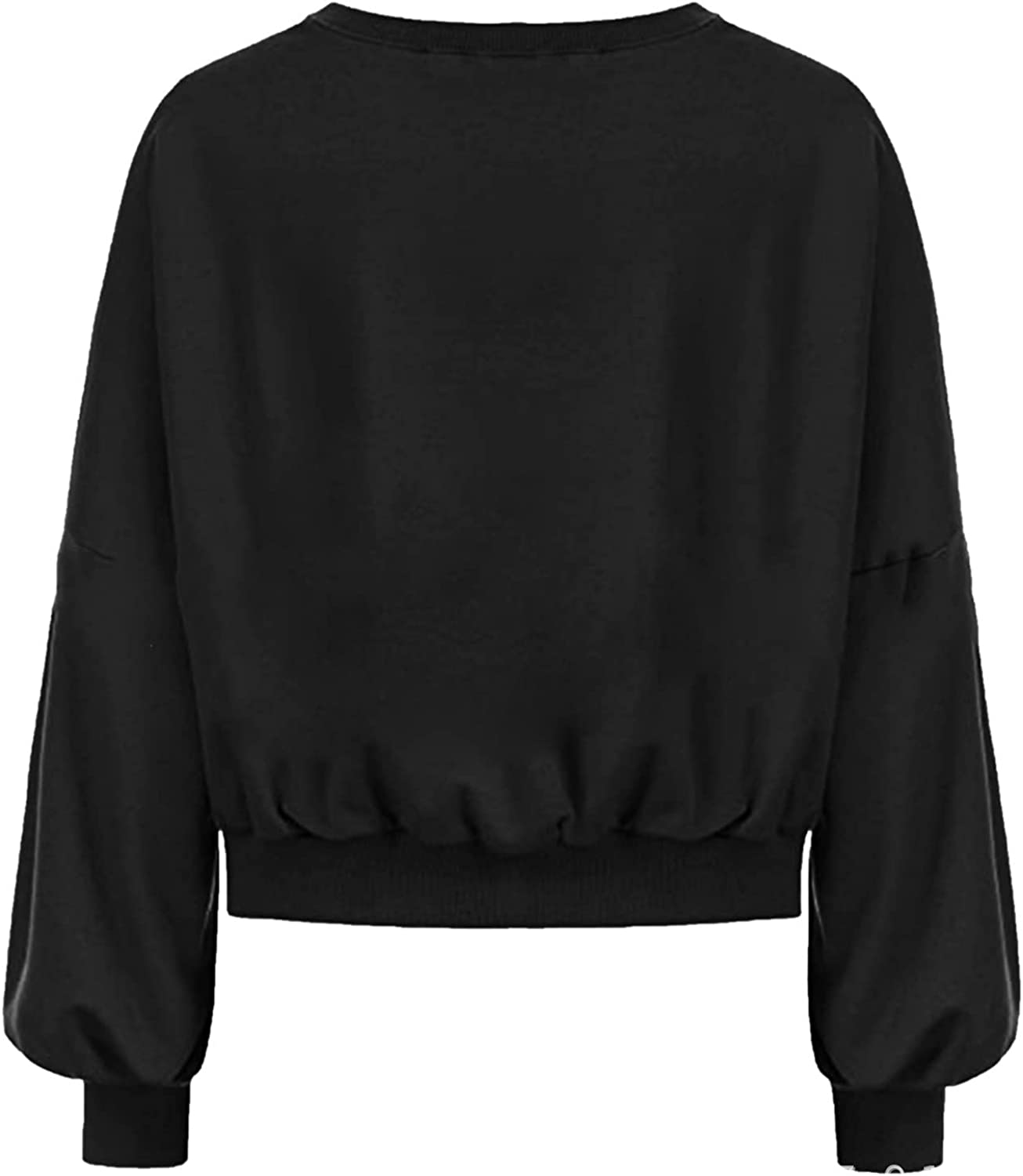 Women Sweatshirts Lantern Long Sleeve Solid Color Crop Tops Fashion Round Neck Simple Pullover Sweater