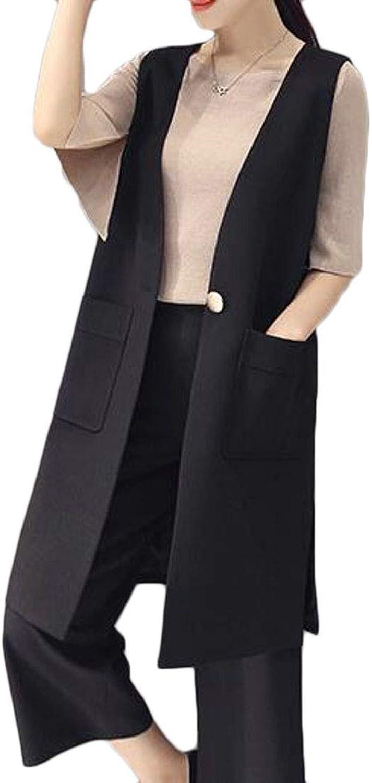 BU2H Women Outfit Set Ankle Length Vogue Suit Wide Leg Vest