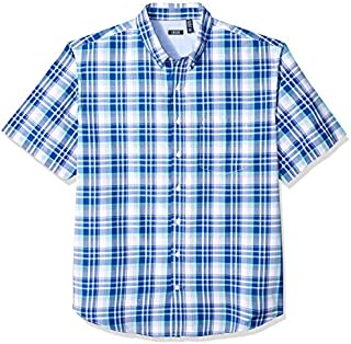 IZOD Men's Big and Tall Breeze Short Sleeve Button Down Plaid Shirt