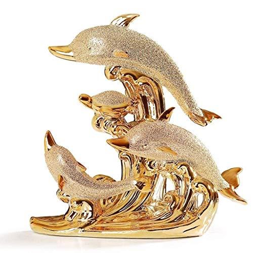 LHQ-HQ Estatua de delfín, mueble de TV creativo, decoración de cerámica para sala de estar, vino, armario, decoración del hogar, porche, regalo de artesanía europea, oro, 21 x 21 cm