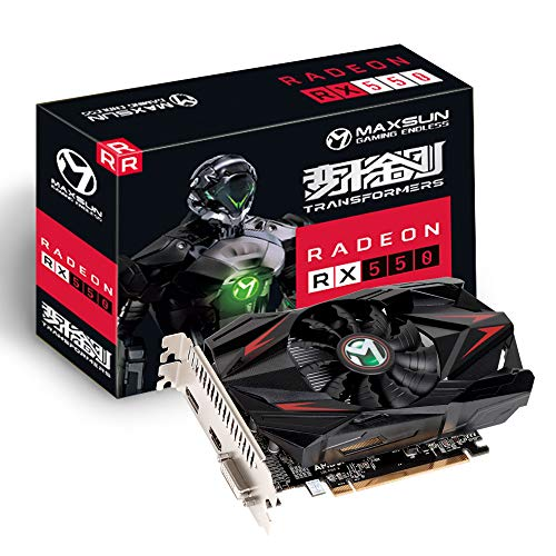 MAXSUN AMD Radeon RX 550 4GB GDDR5 ITX Computer PC Gaming Video Graphics Card GPU 128-Bit DirectX 12 PCI Express X16 3.0 DVI-D Dual Link, HDMI, DisplayPort