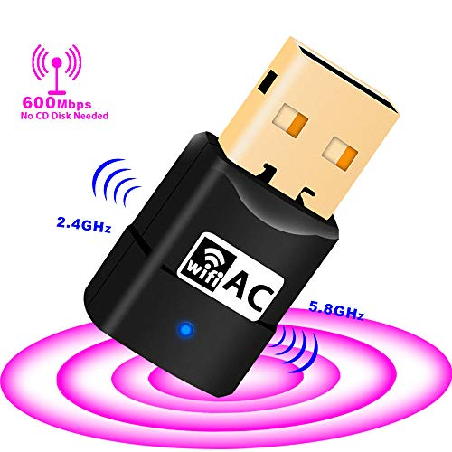 Adaptador WiFi USB – 600Mpbs Dual Band Wireless Adaptador para PC/Desktop / Laptop Compatible con Windows 10/8/8.1/7/Vista/XP/2000, Mac OS 10.6-10.13, no necesita CD