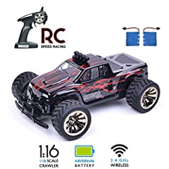 【2.4GHz Control,Strong Powerful】Equipped with 4.8V 500mAh battery, max speed is up to 15km/h, this high speed stunt RC cross country vehicle will bring you a great speed experience. 【Fast Speed & Heavy Duty Wheels】Comes with the aggressive tread of t...