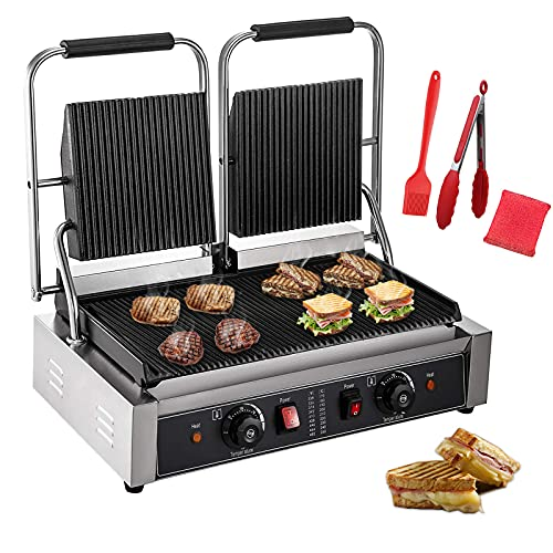 Panghuhu88 110V 3600W Commercial Sandwich Panini Press, Commercial Double Panini Presser Non-Stick Full Grooved Plates 122°F-572°F Temp Control for Hamburgers Steaks Bacons,22.8' x 14.4'