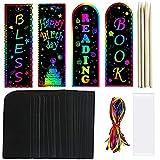 LQKYWNA Magic Scratch Bookmark Set, DIY Rainbow Bookmark Pluma Y Cinta De Madera, Etiquetas De Papel Art Craft para Regalo De Fiesta Infantil