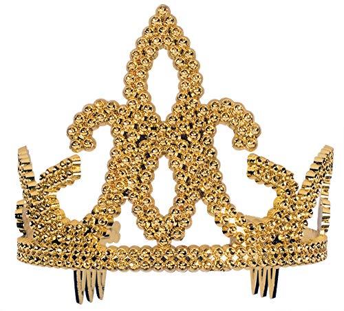 Forum Novelties Women's Tiara-Plastic with Combs Gold Party Supplies, Standard 51863