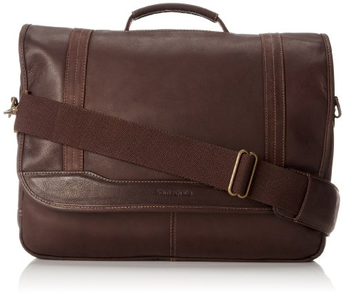 Samsonite Columbian Leather Briefcase, Brown, Flapover