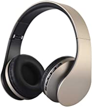 Over-Ear Wireless Headphone,WONFAST Foldable 4 in 1 Bluetooth and Wired Stereo Hands-Free Calling Headset with Microphone for iPhone Samsung,Support FM Radio,MP3 Player (Gold)