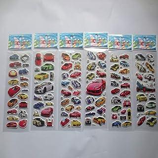 BLOUR Decoración para el hogar Diario Cuaderno Etiqueta Decoración Juguete Dibujos Animados Etiqueta engomada del Coche 3D Burbuja Pegatinas Scrapbooking para Niños Gratis Shi 6 Hojas/Set