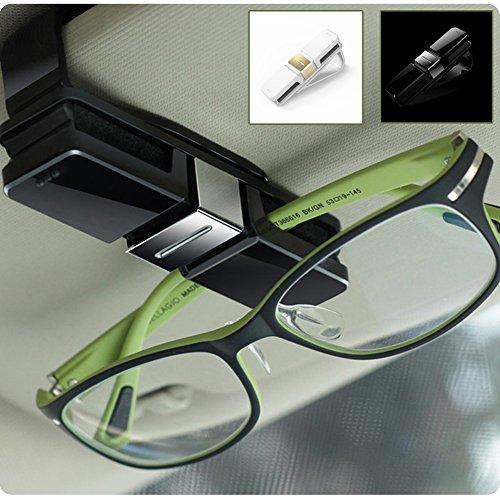HaloVa Car Glasses Holder, Car Visor Sunglasses Ticket Clip Holder, Double Sunglasses Mount Eyeglasses Clip Cash Money Card Holder for Auto Sun Visor/Air Vent, Black